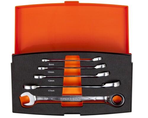 sada ráčnových očkoplochých klíčů BAHCO, 8-19mm, 5ks