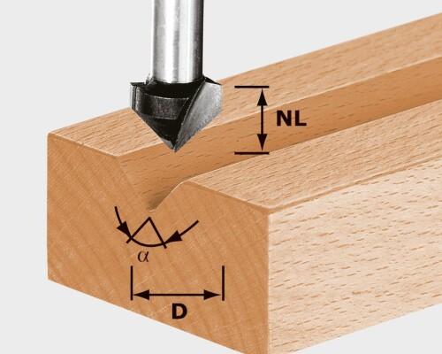 Drážkovací fréza V-drážka, HS D11/9,5/60°