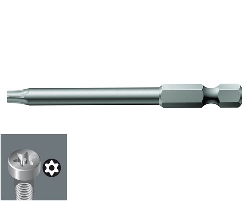 """bit WERA 867/4 Z, 1/4"""", 70mm, STANDARD, TX8BO s otvorem"""