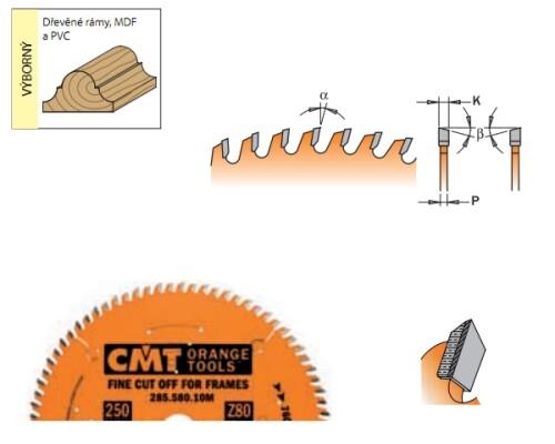 pilový kotouč CMT, HM, 250x30x3,0-80z, ideální na lišty