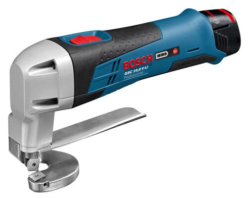 AKU nůžky na plech Bosch GSC 10,8 V-Li, 2x2,0Ah, L-Boxx