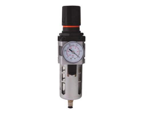 "regulátor tlaku vzduchu + filtr, kovový, 0-8,5 bar, 1/4"""