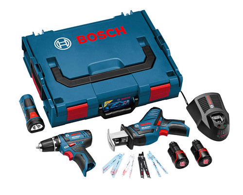 Sada aku nářadí Bosch GSR 10,8-2-Li + GSA + GLI, 2x2,0Ah, L-Boxx