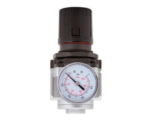 "regulátor tlaku vzduchu, kovový, 0-8,5 bar, 1/4"""