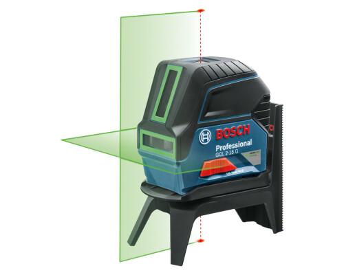 Stavební křížový laser Bosch GCL 2-15 G + držák RM1 + BM3, kufr