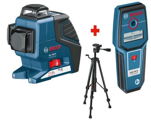 Stavební křížový laser Bosch GLL 3-80 P + stativ + detektor GMS 100