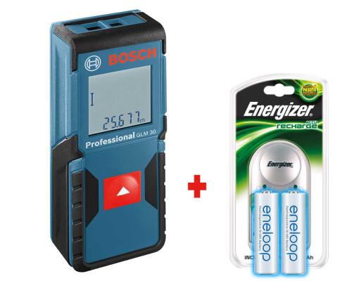Laserový měřič vzdálenosti Bosch GLM 30 + nabíječka + 2x akumulátor