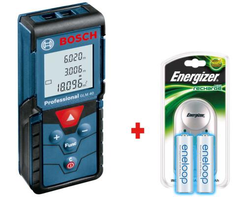 Laserový měřič vzdálenosti Bosch GLM 40 + nabíječka + 2x akumulátor