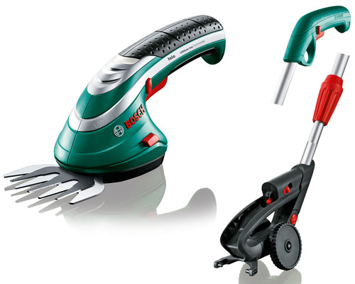 Akumulátorové nůžky s lištou na stříhání trávy Bosch Isio 3 + násada