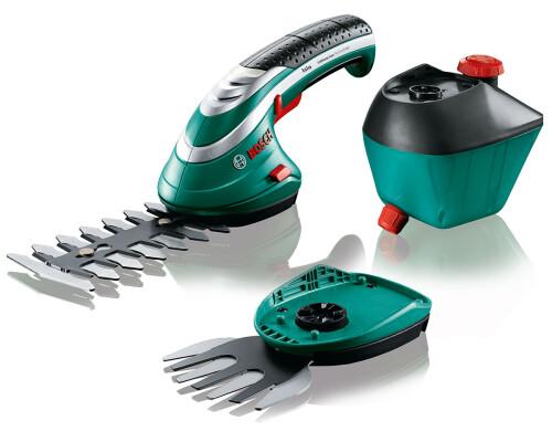 Akumulátorové nůžky na trávu a keře + rozprašovač Bosch Isio 3