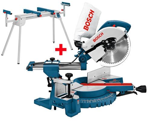 Pokosová pila s výsuvem Bosch GCM 10 S + pracovní stůl