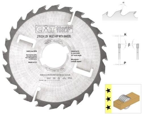 rozmítací pilový kotouč, CMT, 300x30x3,2(2,2)mm, 24+4z