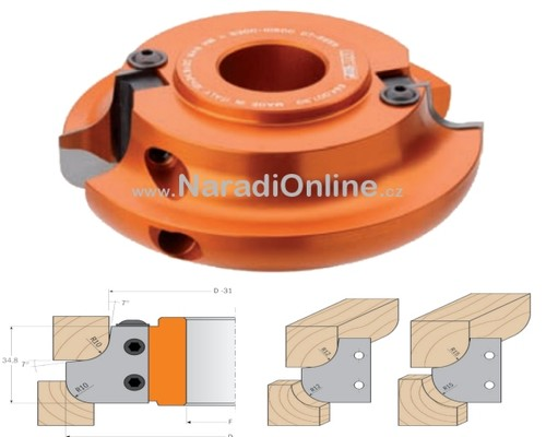 fréza zaoblovací,konvex-konkáv, ALU, CMT, 120mm, R10(12-15)