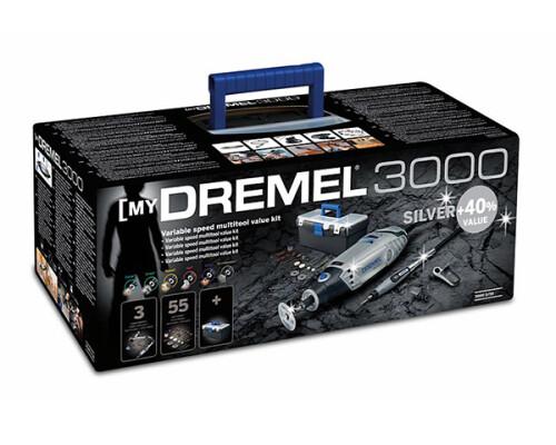 DREMEL 3000 LS stříbrná edice, 130W, 3+55 ks, plastový box