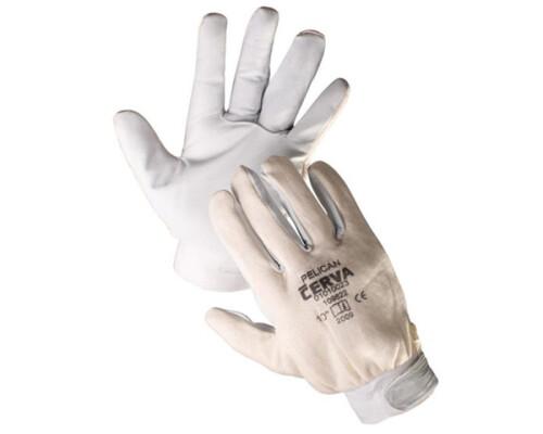 Pracovní rukavice textil + kůže Pelican, bílé, velikost 8, pár