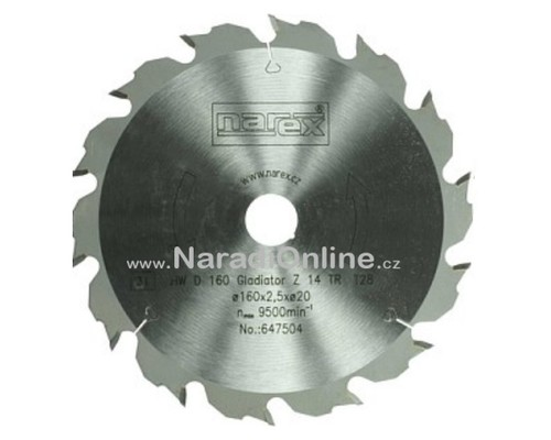 pilový kotouč okružní pily Narex Gladiator, 160x2,5x20, 14WZ