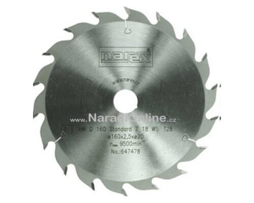 pilový kotouč okružní pily Narex Standard, 160x2,2x20, 18WZ