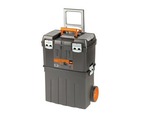 Plastový box pro nářadí dvojdílný s kolečky, 470x290x630