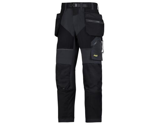 Pracovní kalhoty FlexiWork+ s pouzdrovými kapsami, černé, vel. 52