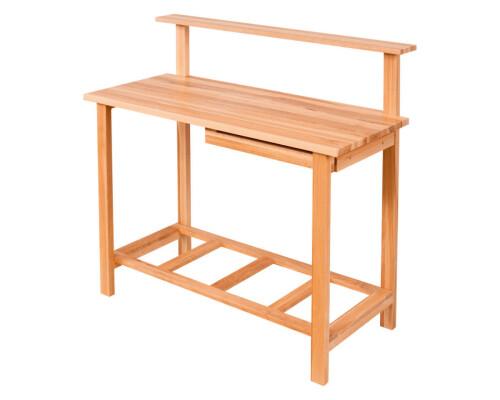 Zahradní pracovní stůl z masivního dřeva Garden I se zásuvkou