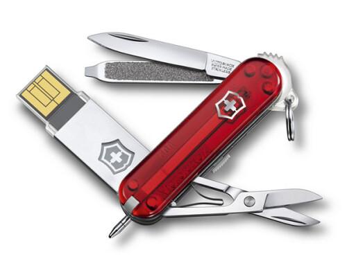 Kapesní nůž Victorinox @Work, červený transparent, 58mm, 32GB
